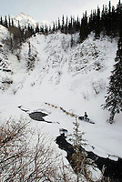 Tuesday  March 7 , 2010   Dave DeCaro runs along Dalzell Creek near open water in the Dalzell Gorge on the trail to Rohn between Rainy Pass summit and Rohn.