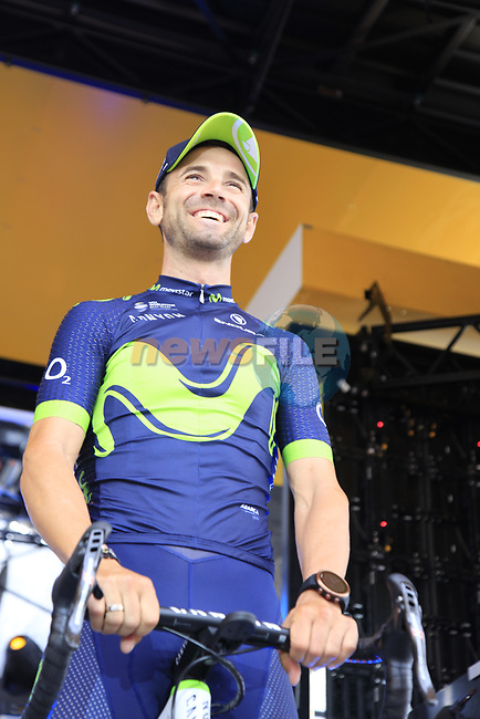 Alejandro Valverde (ESP) Movistar Team on stage at the Team Presentation in Burgplatz Dusseldorf before the 104th edition of the Tour de France 2017, Dusseldorf, Germany. 29th June 2017.<br /> Picture: Eoin Clarke | Cyclefile<br /> <br /> <br /> All photos usage must carry mandatory copyright credit (&copy; Cyclefile | Eoin Clarke)