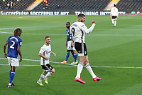 10th July 2020; Craven Cottage, London, England; English Championship Football, Fulham versus Cardiff City; Aleksandar Mitrovic of Fulham celebrates after scoring from the penalty spot for 1-0 in the 35th minute