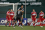 13 June 2009: DC's Christian Gomez (10) celebrates his game-winning goal with Marc Burch (4). DC United defeated the Chicago Fire 2-1 at RFK Stadium in Washington, DC in a regular season Major League Soccer game.
