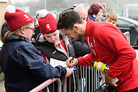Lincoln City's James Wilson signs autographs for fans as he arrives at the ground <br /> <br /> Photographer Chris Vaughan/CameraSport<br /> <br /> The EFL Sky Bet League Two - Lincoln City v Notts County - Saturday 13th January 2018 - Sincil Bank - Lincoln<br /> <br /> World Copyright &copy; 2018 CameraSport. All rights reserved. 43 Linden Ave. Countesthorpe. Leicester. England. LE8 5PG - Tel: +44 (0) 116 277 4147 - admin@camerasport.com - www.camerasport.com