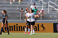 Cary, North Carolina  - Saturday July 01, 2017: Samantha Kerr celebrates her goal with Kelley O'Hara during a regular season National Women's Soccer League (NWSL) match between the North Carolina Courage and the Sky Blue FC at Sahlen's Stadium at WakeMed Soccer Park.