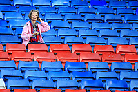 A club for all ages an older Crystal Palace fan checks her hair before  Crystal Palace vs Brighton & Hove Albion, Premier League Football at Selhurst Park on 14th April 2018