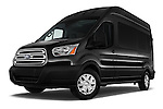 Stock pictures of low aggressive front three quarter view of 2016 Ford Transit 350-XLT-Wagon-High-Roof-Pass-Slide-148WB 4 Door Passenger Van Low Aggressive