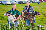 l-r  Kieran Houlihan, Ballyduff with Sand Sea Model and William Houlihan, Ballyduff with Misty Ranger. at the Ballyheigue Coursing on Sunday
