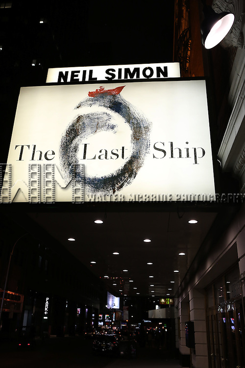 Theatre Marquee during a preview performance of 'The Last Ship' at the Neil Simon Theatre  on October 3, 2014 in New York City.