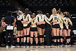 The Wake Forest Demon Deacons huddle up during a time out in their match against the USC Upstate Spartans in the LJVM Coliseum on September 9, 2017 in Winston-Salem, North Carolina.  The Demon Deacons defeated the Spartans 3-2.   (Brian Westerholt/Sports On Film)