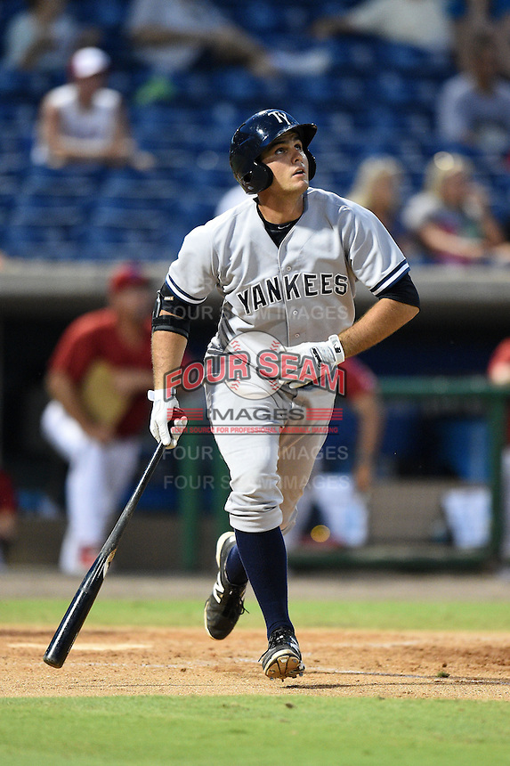 Tampa Yankees first baseman Greg Bird (33) at bat during a game against the Clearwater Threshers on June 26, 2014 at Bright House Field in Clearwater, Florida.  Clearwater defeated Tampa 4-3.  (Mike Janes/Four Seam Images)