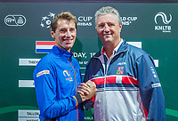 The Hague, The Netherlands, September 13, 2017,  Sportcampus , Davis Cup Netherlands - Chech Republic, Draw, Dutch Captain Paul Haarhuis (L) and Chech captain Jaroslav Navritil<br /> Photo: Tennisimages/Henk Koster