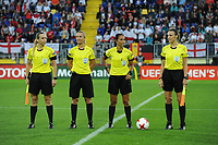 20170723 - BREDA , NETHERLANDS : referee Carina Vitulano (2nd from right) with assistant referees Lucia Abruzzese and Chrysoula Kourmpylia pictured during the female soccer game between England and Spain  , the second game in group D at the Women's Euro 2017 , European Championship in The Netherlands 2017 , Sunday 23 th June 2017 at Stadion Rat Verlegh in Breda , The Netherlands PHOTO SPORTPIX.BE | DIRK VUYLSTEKE