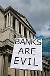 Credit Crunch G20 protest outside Bank of England Threadneedle Street. Stop the City march and demonstration against capitalism April 1st