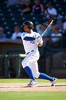 Surprise Saguaros Alfredo Escalera (15), of the Kansas City Royals organization, during a game against the Salt River Rafters on October 17, 2016 at Surprise Stadium in Surprise, Arizona.  Surprise defeated Salt River 3-1.  (Mike Janes/Four Seam Images)