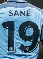 Leroy Sane of Manchester City shirt during the UEFA Champions League GROUP match between Manchester City and Celtic at the Etihad Stadium, Manchester, England on 6 December 2016. Photo by Andy Rowland.