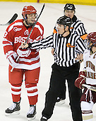 Cam Atkinson (BC - 13), Chris Low, John Gravallese, Joe Whitney (BC - 15) - The Boston College Eagles defeated the visiting Boston University Terriers 5-2 on Saturday, December 4, 2010, at Conte Forum in Chestnut Hill, Massachusetts.