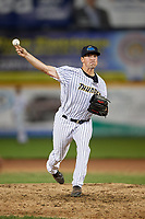 Trenton Thunder pitcher Andrew Bellatti (29) during an Eastern League game against the New Hampshire Fisher Cats on August 20, 2019 at Arm & Hammer Park in Trenton, New Jersey.  New Hampshire defeated Trenton 7-2.  (Mike Janes/Four Seam Images)