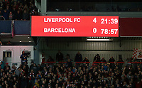 The Anfield scoreboard shows a 4-0 scoreline after Liverpool's Divock Origi scored his side's fourth goal <br /> <br /> Photographer Rich Linley/CameraSport<br /> <br /> UEFA Champions League Semi-Final 2nd Leg - Liverpool v Barcelona - Tuesday May 7th 2019 - Anfield - Liverpool<br />  <br /> World Copyright © 2018 CameraSport. All rights reserved. 43 Linden Ave. Countesthorpe. Leicester. England. LE8 5PG - Tel: +44 (0) 116 277 4147 - admin@camerasport.com - www.camerasport.com