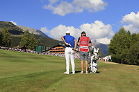 Lucas Bjerregaard (DEN) prepares to play his 2nd shot on the 18th hole during Sunday's Final Round 4 of the 2018 Omega European Masters, held at the Golf Club Crans-Sur-Sierre, Crans Montana, Switzerland. 9th September 2018.<br /> Picture: Eoin Clarke | Golffile<br /> <br /> <br /> All photos usage must carry mandatory copyright credit (&copy; Golffile | Eoin Clarke)