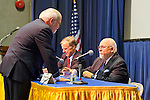 "Hofstra President Stuart Rabinowitz (standing) speaking with Edward J. Rollins (right) and Governor Howard Dean (center) before panel on ""Change in the White House?"" on Thursday, April 19, 2012, at Hofstra University, Hempstead, New York, USA. Hofstra's event was part of ""Debate 2012"" which leads up to the Presidential Debate Hofstra is hosting on October 15, 2012."