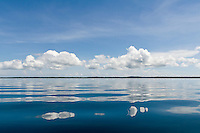 Reflections of clounds in the water in Dolphin Bay, Bocas del Toro, Panama