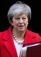 British Prime Minister, Theresa May, leaves 10 Downing Street to go to the House of Commons for Priem Minister's Questions. She is trying to finalise her Brexit plans ahead of the March 12th vote and the March 29th deadline.