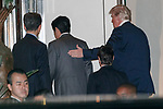 Japan's Prime Minister Shinzo Abe (C) and US President Donald Trump (R) arrive the Ukai-tei restaurant in Ginza on November 5, 2017, Tokyo, Japan. Trump and Abe enjoyed dinner in Tokyo after playing golf in the afternoon. Japan is the first stop on his five-nation tour in Asia. (Photo by Rodrigo Reyes Marin/AFLO)