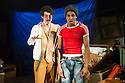 London, UK. 03.10.2014. Mountview Academy of Theatre Arts presents VERNON GOD LITTLE, at the Bridewell Theatre. Picture shows: Sacha Mandel (Lally) and Asan N'Jie (Vernon God Little). Photograph © Jane Hobson.