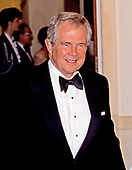 Dr. Pat Robertson, President, Christian Broadcasting Network Center arrives at the White House in Washington, DC for the State Dinner in honor of President Patricio Aylwin of the Republic of Chile on Wednesday, May 13, 1992.<br /> Credit: Ron Sachs / CNP