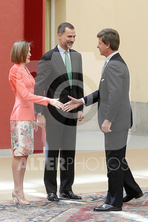 King Felipe IV of Spain and Queen of Spain Letizia with Cayetano Luis Martinez de Irujo and Fitz-James Stuart, Duke of Arjona and Conde de Salvatierra during the commemoration of the bicentennial of the Delegation of the Greatness of Spain. June 16,2015. (ALTERPHOTOS/Acero)