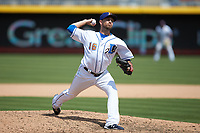 Durham Bulls relief pitcher Cole Sulser (16) in action against the Columbus Clippers at Durham Bulls Athletic Park on June 1, 2019 in Durham, North Carolina. The Bulls defeated the Clippers 11-5 in game one of a doubleheader. (Brian Westerholt/Four Seam Images)