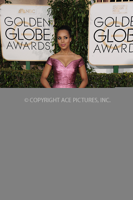 WWW.ACEPIXS.COM<br /> <br /> January 11 2015, LA<br /> <br /> Kerry Washington arriving at the 72nd Annual Golden Globe Awards at The Beverly Hilton Hotel on January 11, 2015 in Beverly Hills, California.<br /> <br /> By Line: Peter West/ACE Pictures<br /> <br /> <br /> ACE Pictures, Inc.<br /> tel: 646 769 0430<br /> Email: info@acepixs.com<br /> www.acepixs.com