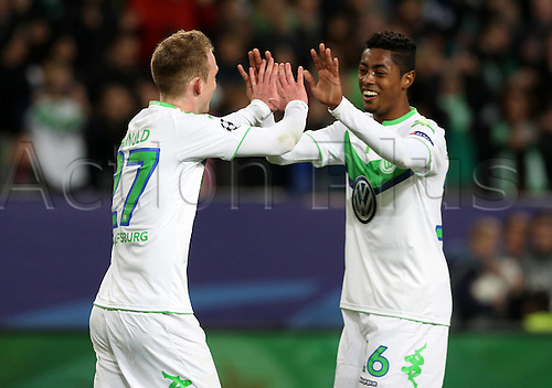 06.04.2016. Wolfsburg, Geramny. UEFA Champions League quarterfinal. VfL Wolfsburg versus Real Madrid.  Maximilian Arnold celebrates his goal for 2:0 with Bruno Henrique Pinto