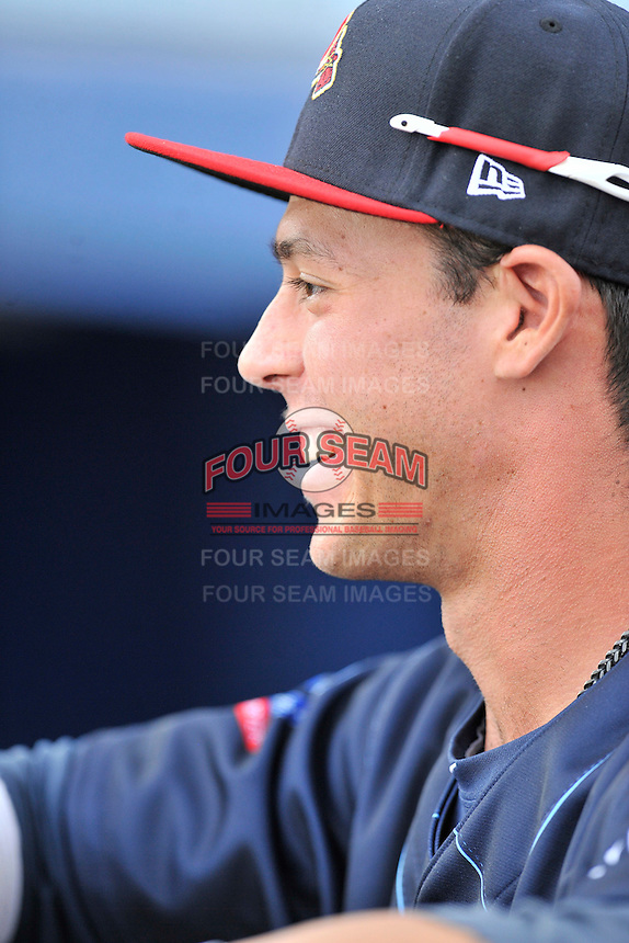 Catcher Collin Yelich (12) of the Danville Braves prior to in a game against the Johnson City Cardinals on Friday, July 1, 2016, at Legion Field at Dan Daniel Memorial Park in Danville, Virginia. Johnson City won, 1-0. (Tom Priddy/Four Seam Images)