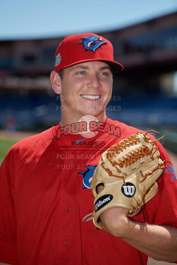 Clearwater Threshers pitcher Spencer Howard (31) poses for a photo after a Florida State League game against the Florida Fire Frogs on April 24, 2019 at Spectrum Field in Clearwater, Florida.  Clearwater defeated Florida 13-1.  (Mike Janes/Four Seam Images)