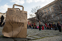 """Rome, 25/01/2020. Today, Artisti Resistenti Roma and Prima gli esseri umani held a flash mob for Peace in Piazza dell'Esquilino (1.). <br /> From the event Facebook page: «Gino Strada: """"We cannot still conceive a world without war"""".<br /> We have always been against all types of war, abuse and abuse against humanity and against the devastation of planet earth, torn by wars, massive deforestations, pollution and violence. We are here to show our strong support for all those peoples who still today experience situations of armed conflict generated by a thirst for power and money. We ask aloud that the shame Security Decrees [2.] be repealed, in defense of the peoples who fight for their freedom and their rights! [...]».<br /> <br /> Footnotes & Links:<br /> 1. http://bit.do/fqysS<br /> 2. 15.07.2019 - Manifestazione Contro il Decreto Sicurezza Bis - Demo Against Security Decree Bis http://bit.do/fqyxV"""