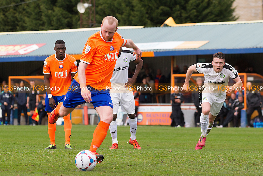 Kenny Davis of Braintree Town makes no mistake from the penalty spot and scores the opening goal during Braintree Town vs Forest Green Rovers, Vanarama National League Football at the Avanti Stadium on 9th April 2016