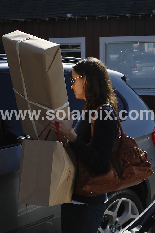 **ALL ROUND EXCLUSIVE PICTURES FROM SOLARPIX.COM**.**WORLDWIDE SYNDICATION RIGHTS**.**NO PUBLICATION IN AUSTRALIA, NEW ZEALAND,.DENMARK, GERMANY OR USA**.American actress Bridget Moynahan walking to her BMW SUV with her hands full of packages both large and small. She struggles with the door as her hands were full and finally gets in the car. Country Market, Brentwood California, USA. 13th November 2008..JOB REF: 7882 LAP (CWA)      DATE: 13_11_2008.**MUST CREDIT SOLARPIX.COM OR DOUBLE FEE WILL BE CHARGED* *UNDER NO CIRCUMSTANCES IS THIS IMAGE TO BE REPRODUCED FOR ANY ONLINE EDITION WITHOUT PRIOR PERMISSION*
