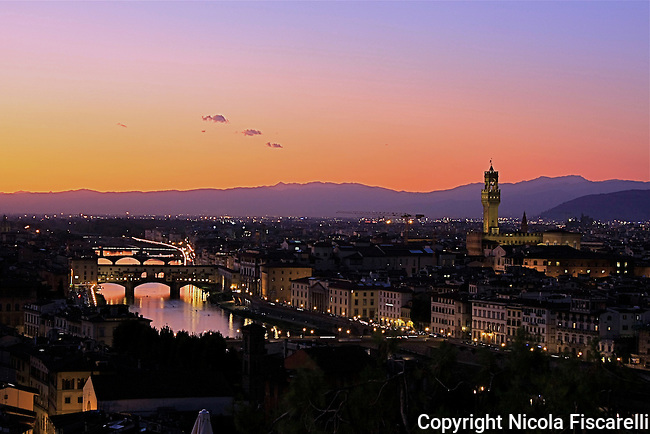 A  beautiful dusk view of the renaissance city of Florence from the Michelangelo Square.