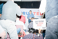 "Standing in front of a backdrop reading ""TrusTed / Courageous, Conservative, Consistent,"" Texas senator and Republican presidential candidate Ted Cruz speaks at a town hall at Crossing Life Church in Windham, New Hampshire, on Tues. Feb. 2, 2016. The day before, Cruz won the Iowa caucus."