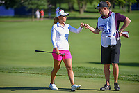 Danielle Kang (USA) fist bumps her caddie after sinking her birdie putt on 2 during round 1 of the 2018 KPMG Women's PGA Championship, Kemper Lakes Golf Club, at Kildeer, Illinois, USA. 6/28/2018.<br /> Picture: Golffile | Ken Murray<br /> <br /> All photo usage must carry mandatory copyright credit (&copy; Golffile | Ken Murray)