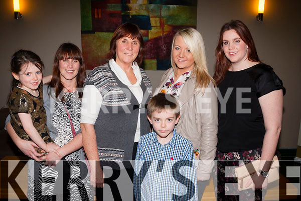 family socialising<br /> --------------------<br /> Attending the Kilmoyley Hurling social in Ballyroe Hts hotel,Tralee last Friday evening,were the Powell family  L-R Alison,Ellie,Eveleen,Sean,Charlotte&amp;Aine