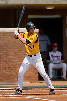 Brent Mikionis #27 of the VCU Rams at bat against the St. John's Red Storm at the Charlottesville Regional of the 2010 College World Series at Davenport Field on June 5, 2010, in Charlottesville, Virginia.  The Red Storm defeated the Rams 8-6.  Photo by Brian Westerholt / Four Seam Images