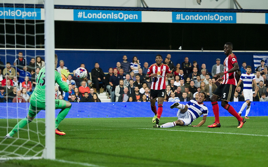 Queens Park Rangers' Abdenasser El Khayati shot saved by Sunderland's Jordan Pickford<br /> <br /> Photographer Ashley Western/CameraSport<br /> <br /> The EFL Cup Third Round - Queens Park Rangers v Sunderland - Wednesday 21st September 2016 - Loftus Road - London<br />  <br /> World Copyright &copy; 2016 CameraSport. All rights reserved. 43 Linden Ave. Countesthorpe. Leicester. England. LE8 5PG - Tel: +44 (0) 116 277 4147 - admin@camerasport.com - www.camerasport.com