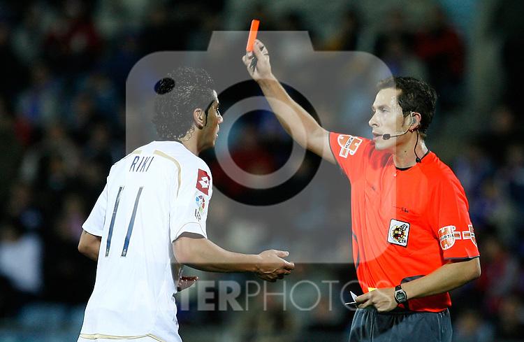 Deportivo de la Coruna's Riki receives a red card during La Liga match. November 07, 2009. (ALTERPHOTOS/Alvaro Hernandez).
