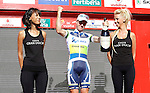 Simon Clarke celebrates the victory in the stage of La Vuelta 2012 between Barakaldo and Valdezcaray in presence of Tony Martin (r) second calsified.August 21,2012. (ALTERPHOTOS/Acero)