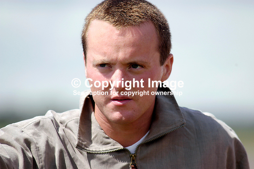 Michael Hoey, professional golfer, N Ireland. Taken at Nissan Irish Open, Portmarnock Golf Club, Ireland, in July 2003. Ref: 200307232667...Copyright Image from Victor Patterson, 54 Dorchester Park, Belfast, UK, BT9 6RJ..Tel: +44 28 9066 1296.Mob: +44 7802 353836.Voicemail +44 20 8816 7153.Skype: victorpattersonbelfast.Email: victorpatterson@mac.com.Email: victorpatterson@ireland.com (back-up)..IMPORTANT: If you wish to use this image or any other of my images please go to www.victorpatterson.com and click on the Terms & Conditions. Then contact me by email or phone with the reference number(s) of the image(s) concerned.
