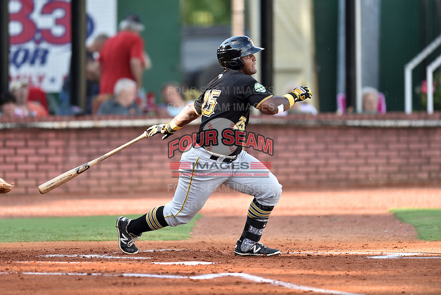 Bristol Pirates right fielder Alex Bastardo (25) swings at a pitch during a game against the Elizabethton Twins at Joe O'Brien Field on July 30, 2016 in Elizabethton, Tennessee. The Twins defeated the Pirates 6-3. (Tony Farlow/Four Seam Images)