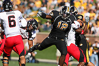 Tigers linebacker Sean Weatherspoon pressures Texas Tech quarterback Graham Harrell during the first half at Memorial Stadium in Columbia, Missouri on October 20, 2007. The Tigers won 41-10.