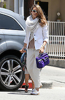 Jessica Alba wore a summerly business outfit with xxl scarf while dropping off daughter_Honor at school on her way to her Honest Company office. Los Angeles, California on 24.05.2012..Credit: Correa/face to face.. / Mediapunchinc