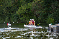 """Henley on Thames, United Kingdom, 3rd July 2018, Friday,  """"Henley Royal Regatta"""",  Heat of """"The Silver Goblets and Nickalls' Challenge Cup, ROU M2-,  Henley Reach, River Thames, Thames Valley, England, UK."""