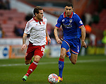 Billy Sharp of Sheffield Utd outpaces James Wilson of Oldham Athletic - FA Cup Second round - Sheffield Utd vs Oldham Athletic - Bramall Lane Stadium - Sheffield - England - 5th December 2015 - Picture Simon Bellis/Sportimage